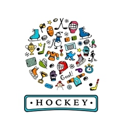 Hockey banner sketch for your design vector