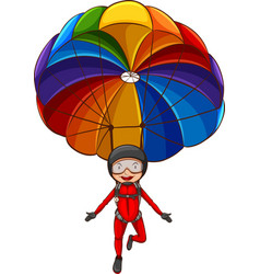 A simple sketch of a girl with a parachute vector image vector image