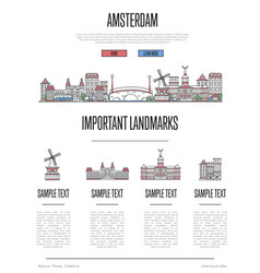 amsterdam travel infographics in linear style vector image vector image