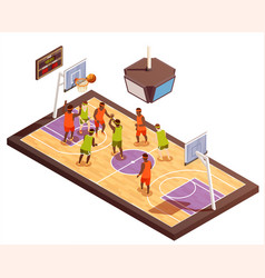 basketball court isometric composition vector image vector image