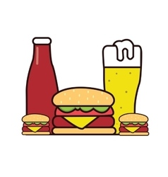 burger beer sauce drawing in line vector image