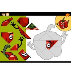 Cartoon pepper jigsaw puzzle game vector