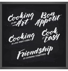 Cooking related typography set vintage vector