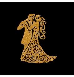 Dancing couple golden silhouette vector