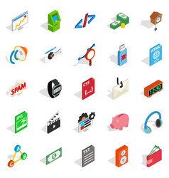 digital age icons set isometric style vector image