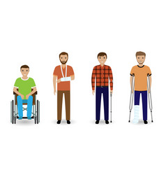 Disability people group of four invalid men vector