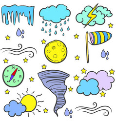 Doodle of weather style with wind cloud sun vector