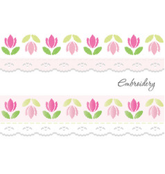 Embroidery decorative ribbons isolated on white vector