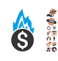 Fire damage icon with dating bonus vector