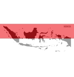 flag and map of Indonesia vector image