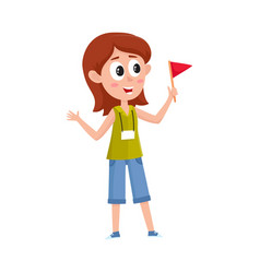 full length portrait of young female tour guide at vector image vector image