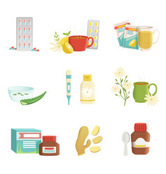 icon set of cold and flu treatment objects vector image