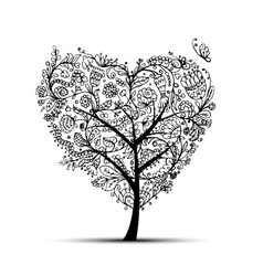 Love floral tree for your design vector image