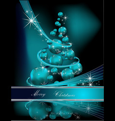 Merry Christmas background silver and blue vector image