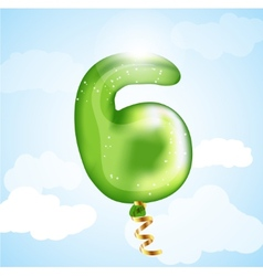 Number six balloon vector