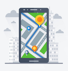 Phone with mobile gps navigation vector