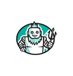 Robotic Poseidon Holding Trident Oval Retro vector image vector image