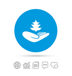 save forest sign hand holds tree symbol vector image