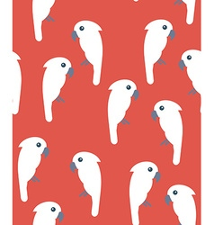 Seamless pattern with white cockatoo birds on red vector