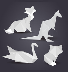 Set of paper origami figures of animals vector