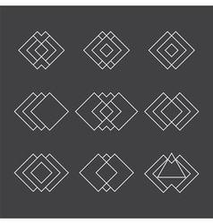 Set of trendy geometric shapes ethnic tattoo vector