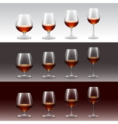 Set of wine glasses isolated on background vector