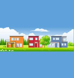 three modern houses in the landscape vector image vector image