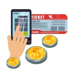 Travel smartphone pay ticket money coin virtual vector