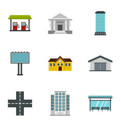 Urban infrastructure icons set flat style vector
