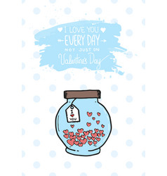 Valentines day greeting card with heart jar and vector