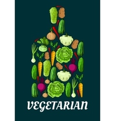 Vegetarian symbol with fresh vegetables vector image vector image