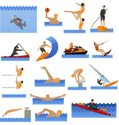 Water sport icons set with people swimming vector image
