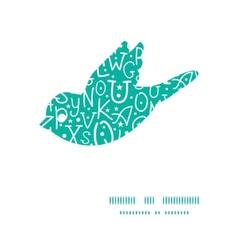 white on green alphabet letters bird silhouette vector image