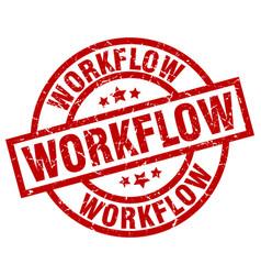 Workflow round red grunge stamp vector