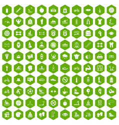 100 men health icons hexagon green vector