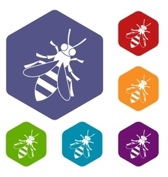 Honey bee icons set vector image