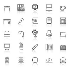 Workspace line icons with reflect on white vector
