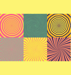 set of different psychedelic spiral vortex twirl vector image