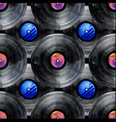 Watercolor vinyl records pattern vector