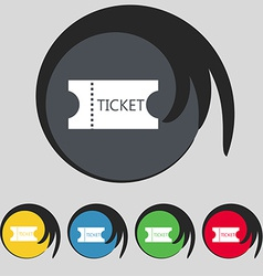 Ticket icon sign symbol on five colored buttons vector