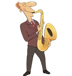 Saxophonist jazz musician cartoon vector