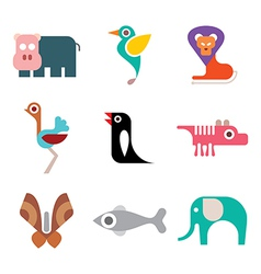 Animal colorful icons vector