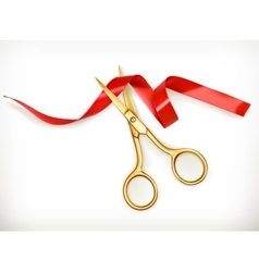 Golden scissors cut the red ribbon vector image
