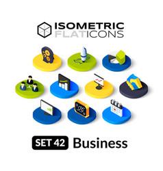 Isometric flat icons set 42 vector image