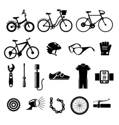 Bicycle bike icons set vector
