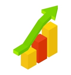 New growth chart isometric icon vector