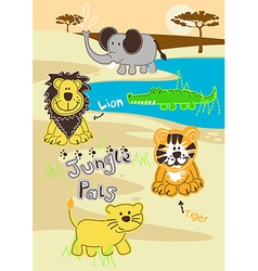 Jungle pals wild animals in africa vector