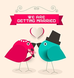 We are getting married retro greeting card with vector