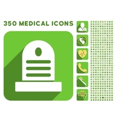 Tombstone icon and medical longshadow icon set vector