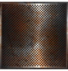 Grunge perforated metal background vector